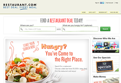 Restaurant.com Website