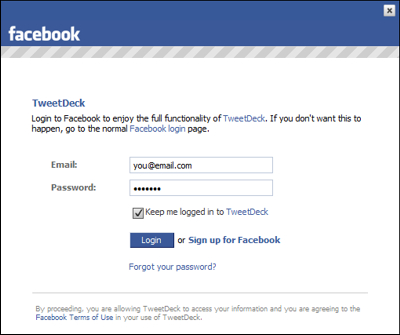 login to facebook. The first time you do this, you'll be prompted to log in to Facebook,